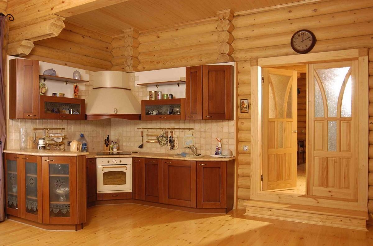 Дизайн интерьер кухни деревянного дома
