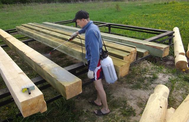 антисептирование деревянных балок