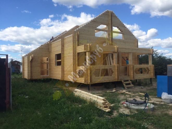 Дом и двойного бруса в Дракино